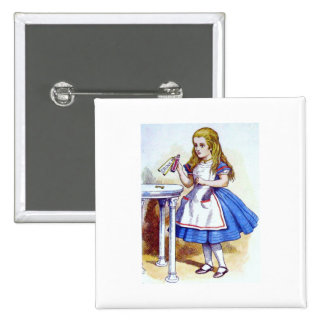 """""""Drink Me"""" Potion with Alice 2 Inch Square Button"""