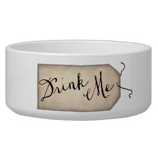 Drink Me Vintage Paper Tag Dog Bowl