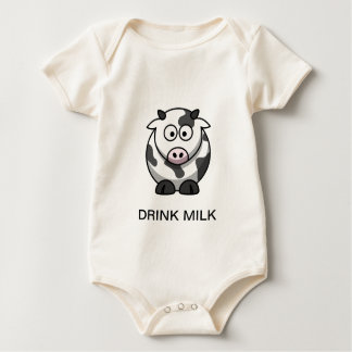 """DRINK MILK"" Cute Cow Baby Creeper"