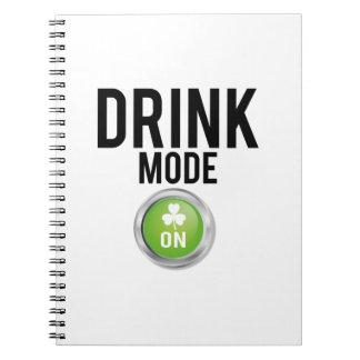 Drink Mode St. Patrick's Day Shamrocks Notebook