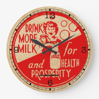 Drink More Milk Vintage Clock