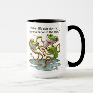Drink Mug: Frogs Dancing in Rain With Quote Mug