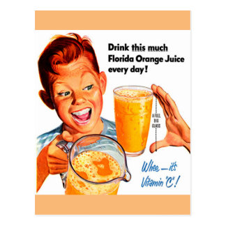 DRINK ORANGE JUICE postcard