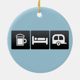 Drink, Sleep and Campers Ceramic Ornament