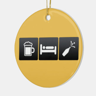 Drink, Sleep and champagne Ceramic Ornament