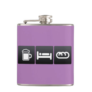 Drink, Sleep and Garlic Bread Hip Flask