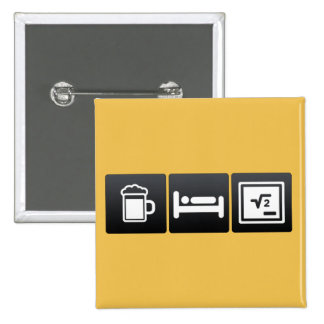 Drink, Sleep and Math Functions 2 Inch Square Button