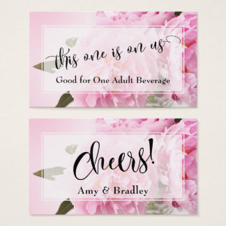 Drink Tickets | Elegant Script & Photo of Peonies