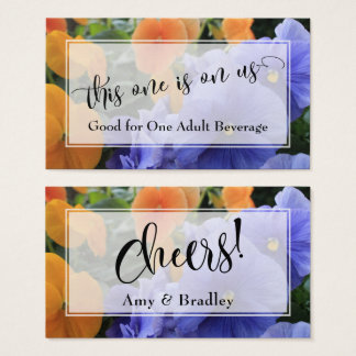 Drink Tickets | Script w/ Purple & Orange Pansies