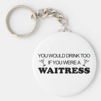 Drink Too - Waitress Keychain