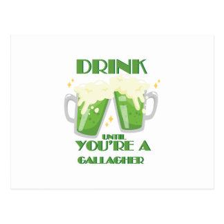 Drink Until You're A Gallagher Vintage St Patricks Postcard