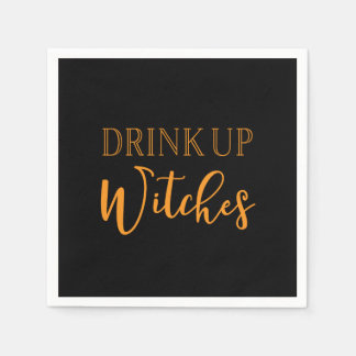 Drink Up Witches | Black & Orange Halloween Napkin Disposable Napkins