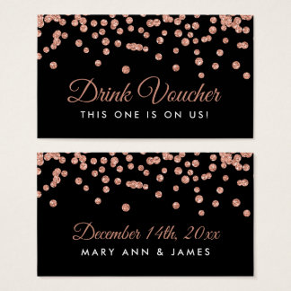 Drink Voucher Rose Gold Faux Glitter Confetti Blac Business Card