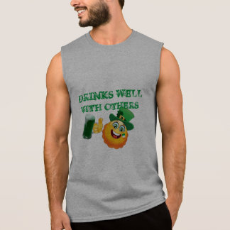 drink well with others lucky green funny irish sleeveless shirt