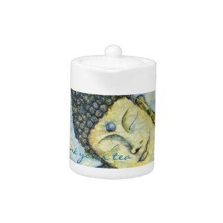 Drink Your Tea Buddha Watercolor Art Tea Pot