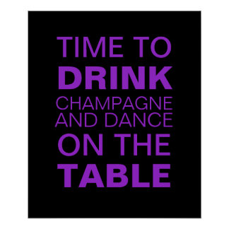 Drinking Champagne Party Poster in Purple