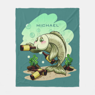 Drinking Fish custom name fleece blanket