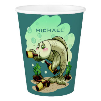Drinking Fish custom name paper cups