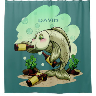 Drinking Fish custom name shower curtain