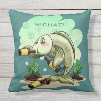 Drinking Fish custom name throw pillows