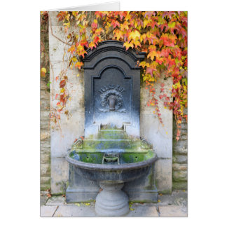 Drinking fountain in fall, Hungary Card