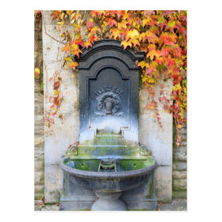 Drinking fountain in fall, Hungary Postcard