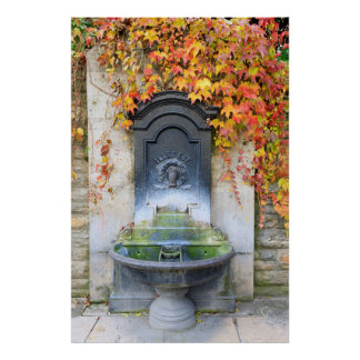 Drinking fountain in fall, Hungary Poster