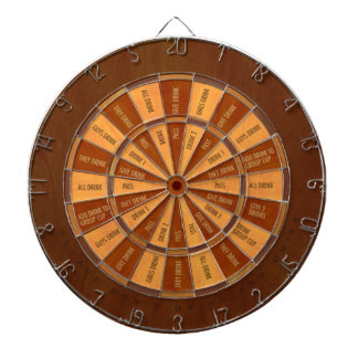 Drinking Game in Faux Inlaid Wood Dartboard With Darts
