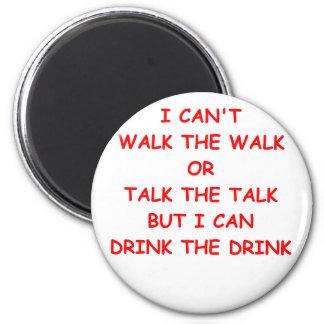 drinking joke 2 inch round magnet