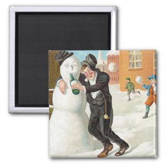 Drinking Snowman Vintage Magnet