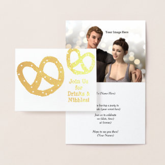 Drinks and Nibbles - Golden Pretzel - Customize Foil Card