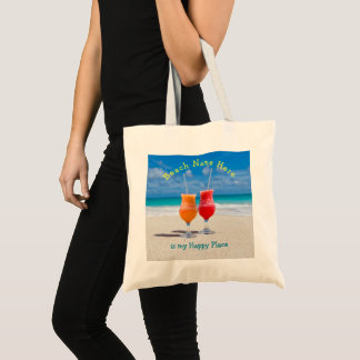 Drinks on Beach Personalized Happy Place Tote