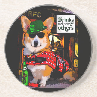 Drinks well with others Corgi Coaster