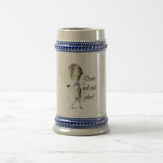 Drinks well with others, funny Wine art Beer Stein