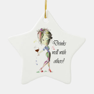 Drinks well with others funny Wine art Ornament