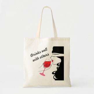 Drinks Well With Others Sexy Wine Tote Bag