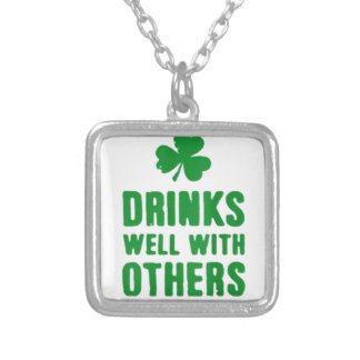 Drinks Well With Others Silver Plated Necklace