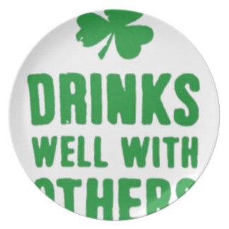 Drinks Well With Others St. Patrick's Day Tee Plate