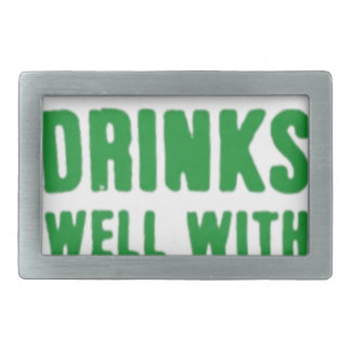 Drinks Well With Others St. Patrick's Day Tee Rectangular Belt Buckle