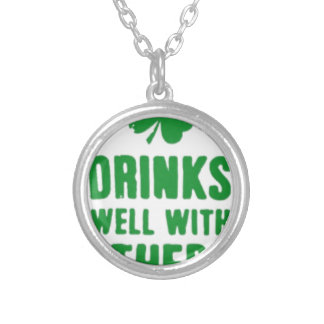 Drinks Well With Others St. Patrick's Day Tee Silver Plated Necklace