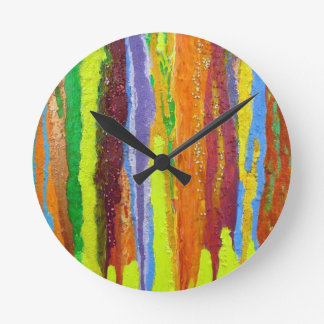 Dripping Colors Abstract Art Design Gifts Round Clock