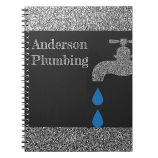 Dripping  faucet and water plumbing glitter effect spiral notebook