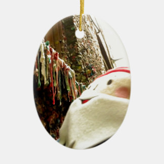 Dripping Gum Gnome Ceramic Oval Ornament