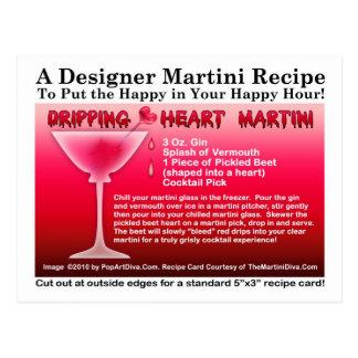 Dripping Heart Halloween Martini Recipe Postcard