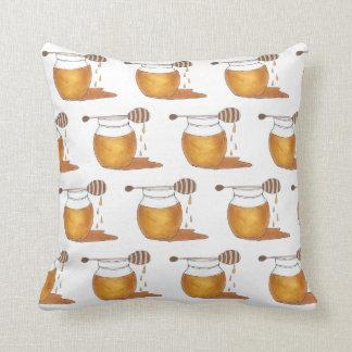 Dripping Honey Jar Honeypot Foodie Sweet Sticky Throw Pillow