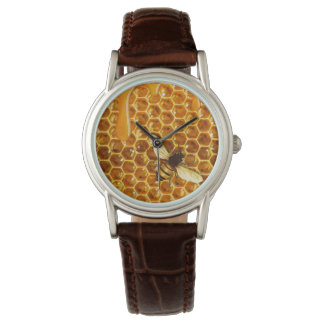 dripping honeycomb and bee leather watch