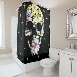 dripping skull and crosses shower curtain