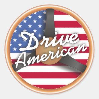 Drive American! Classic Round Sticker