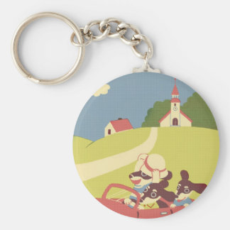Drive Basic Round Button Keychain