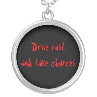 Drive fast, personalized necklace